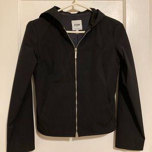 Black Moschino zipper jacket with hood